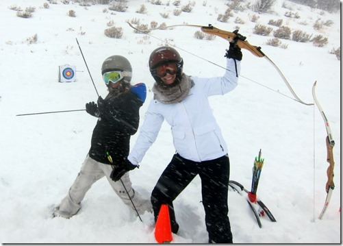 archery in the snow