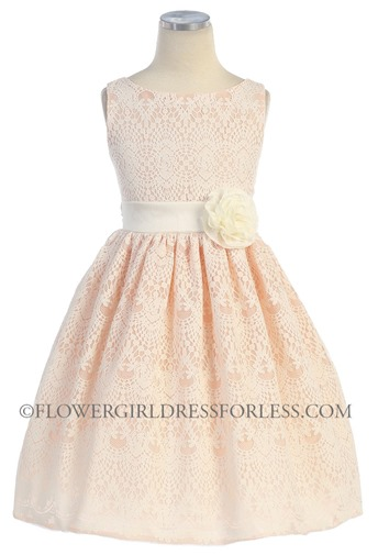 Peach Flower Girl Dress