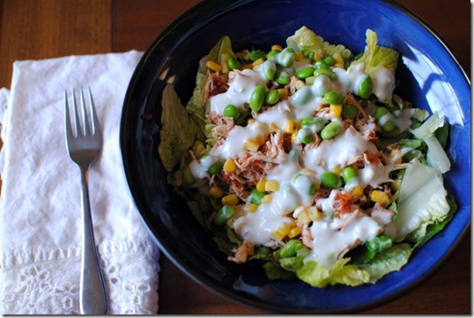 Salad with Blue Cheese and Shredded Chicken