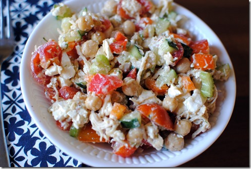 chickpea salad with chicken and feta