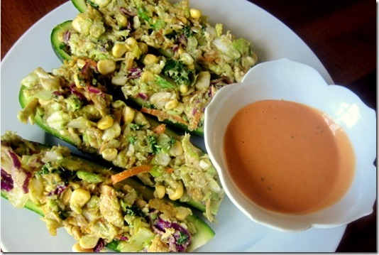 BBQ Chicken Salad Zucchini Boats