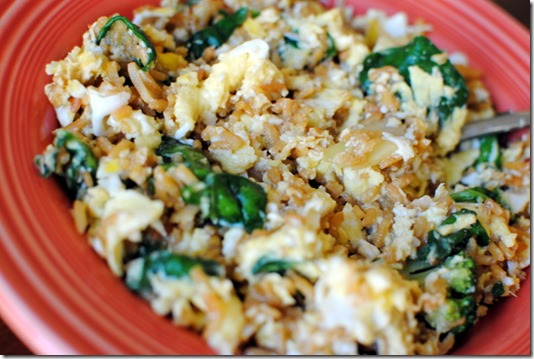 fried rice eggs and spinach