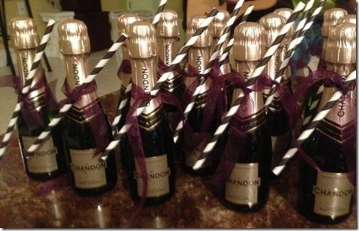 mini wedding day champagne bottles