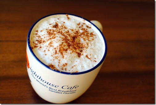 Coffee with cinnamon and foam
