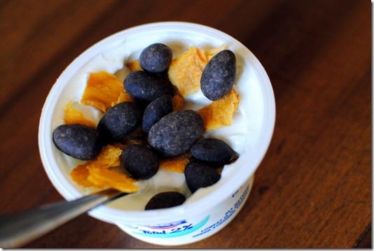Greek Yogurt with Cocoa Almonds and Mango