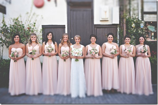 Leslie's Bridesmaids in Peach Dresses