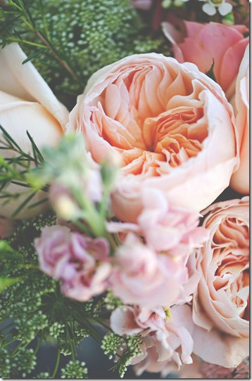 Peach Garden Roses Wedding Flowers