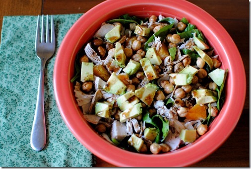 Salad with Roaste Chickpeas, Avocado, Turkey, Oranges and Balsamic Dressing