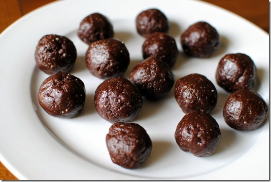 Three ingredient truffles - Walnuts, dates and cocoa powder
