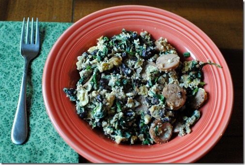 eggs with black beans and chicken sausage