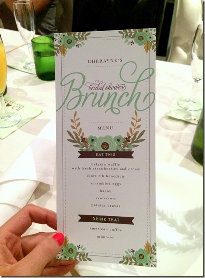 bridal shower brunch menu
