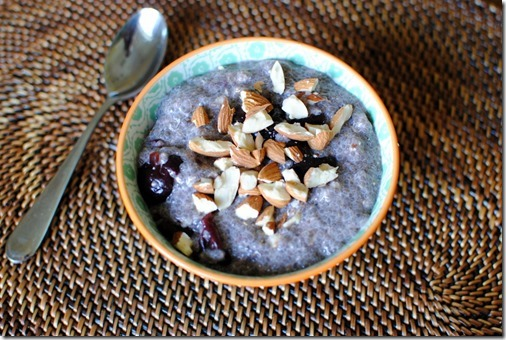 Chia Seed Pudding with Cherries and Almonds