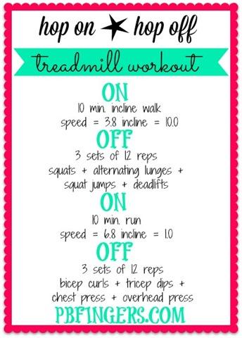 hop on hop off treadmill workout  peanut butter fingers