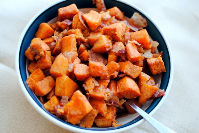 Cinnamon Roasted Sweet Potatoes with Bacon | Peanut Butter Fingers