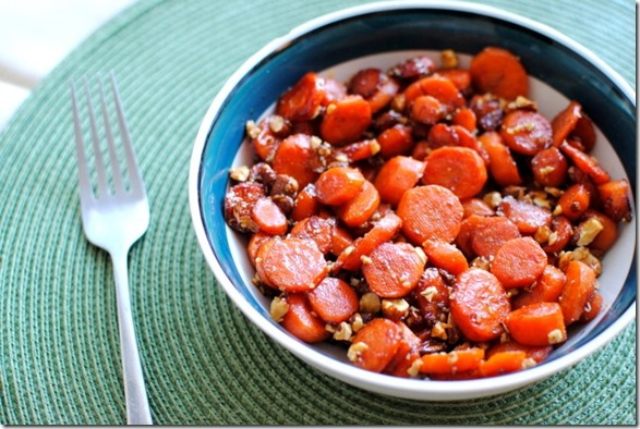 Cinnamon Glazed Carrots with Butter Toffee Almonds