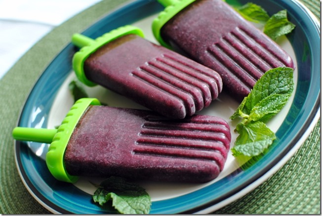 Grape Blueberry Mint Homemade Popsicles