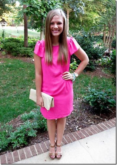 White Plum Pink Shift Dress