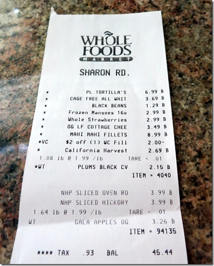 Whole Foods Receipt