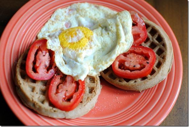 egg waffle tomato
