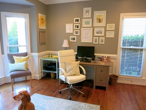 Home Office Gray Mint and Yellow
