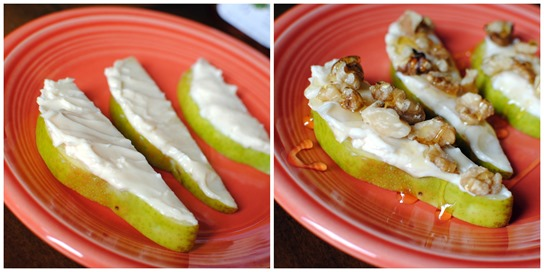 Pears with Laughing Cow Cheese Walnuts and Honey