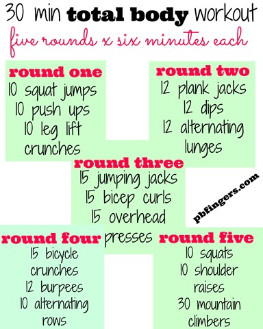 four 30minute workouts  peanut butter fingers