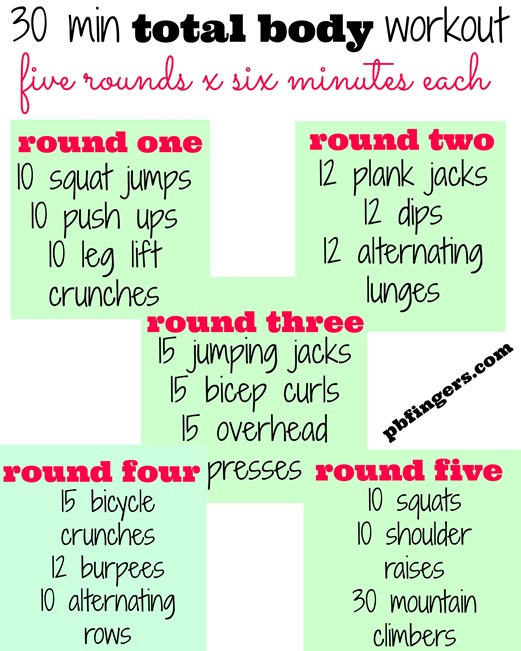 Four 30-Minute Workouts - Peanut Butter Fingers