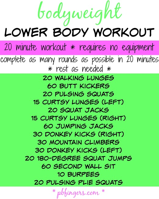 Bodyweight lower body workout peanut butter fingers