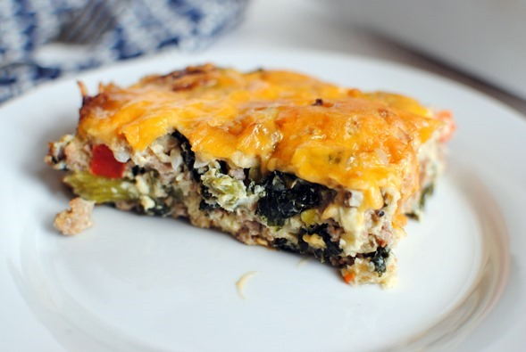 healthy breakfast casserole recipe with kale and turkey sausage