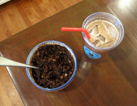 oatmeal and iced coffee
