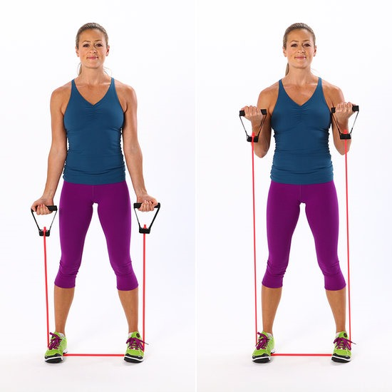 Resistance Bands Upright Row: Upper Body Superset Workout