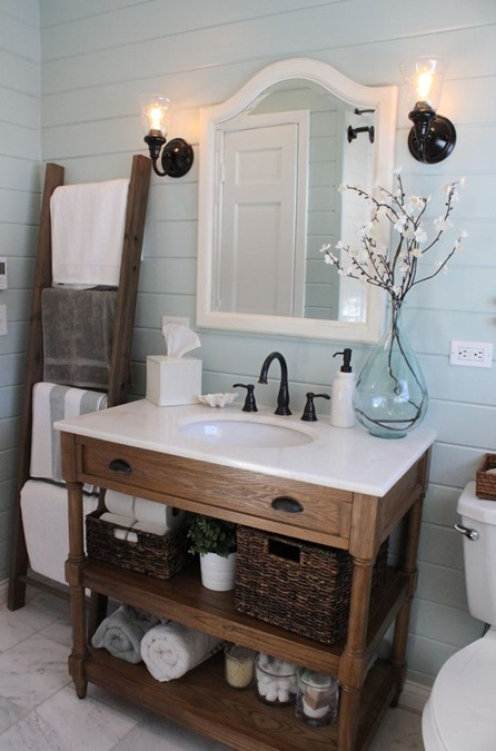 small bathroom with paneling