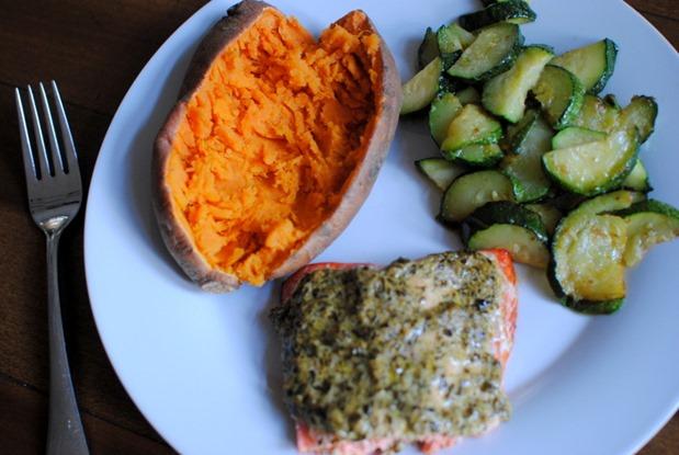 Salmon Sweet Potatoes and Zucchini