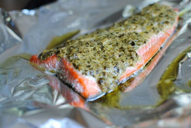 Simple Pesto Salmon Recipe