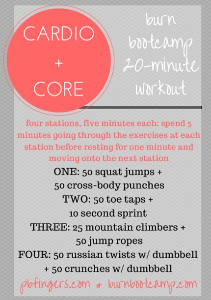 Cardio Core Burn Bootcamp Workout