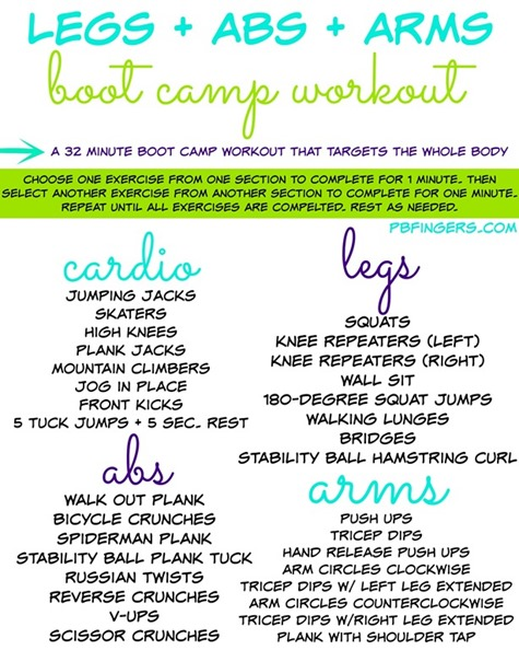 Legs Arms Abs Boot Camp Workout
