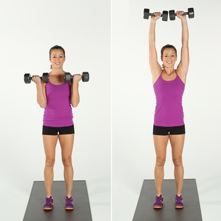biceps curl overhead press