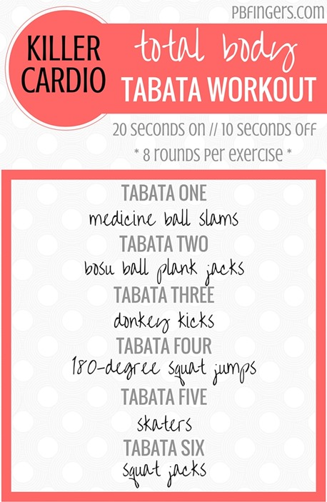 Total Body Tabata Workout -- Killer Cardio Workout!