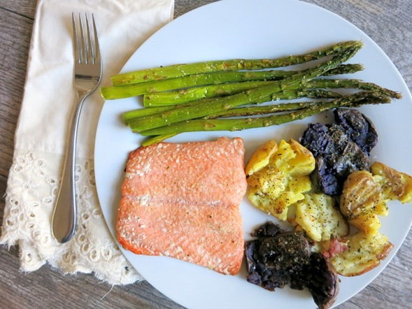Easy Smashed Potatoes and Baked Salmon Recipe