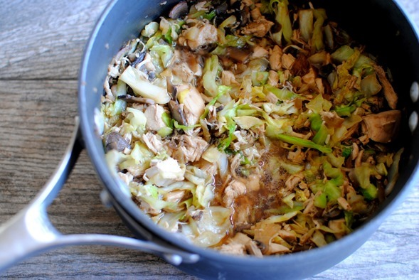 One Pot Ginger Sesame Chicken Cabbage Bowl