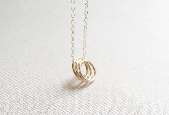 Gold Three Circle Necklace