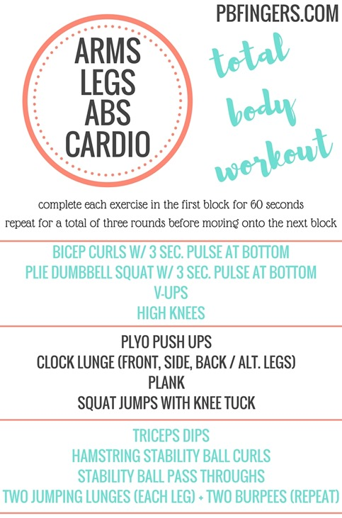 Total Body Workout that targets the ARMS, LEGS and ABS with bursts of CARDIO