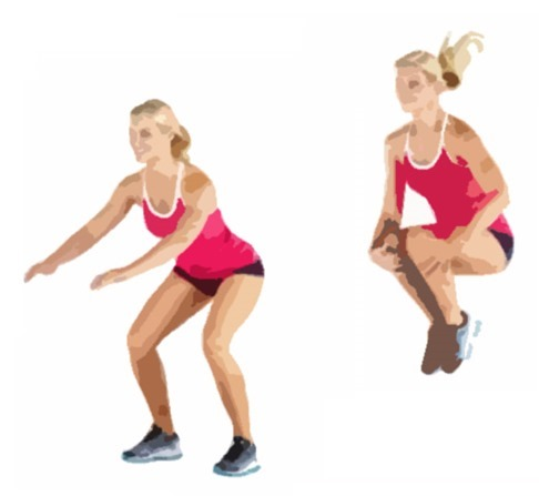 squat jump with knee tuck