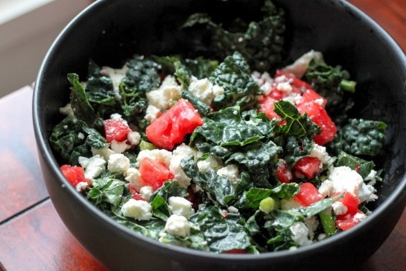 Kale Salad with Pickled Watermelon