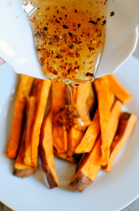 Roasted Sweet Potatoes with Hot Honey