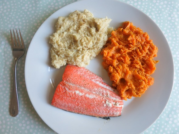 Salmon Cauliflower Sweet Potato Dinner