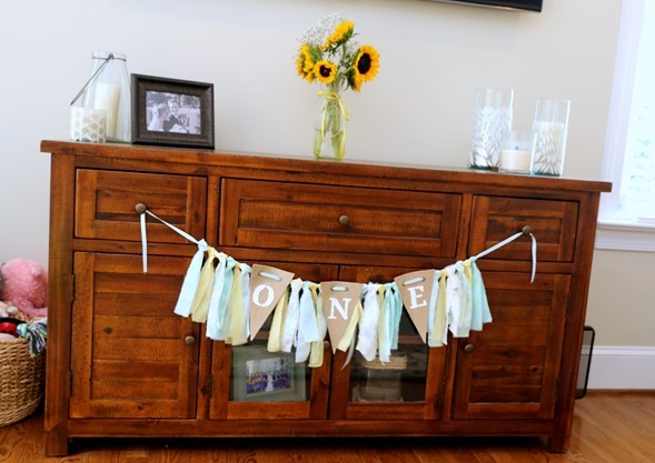 ONE Birthday Banner with Torn Fabric
