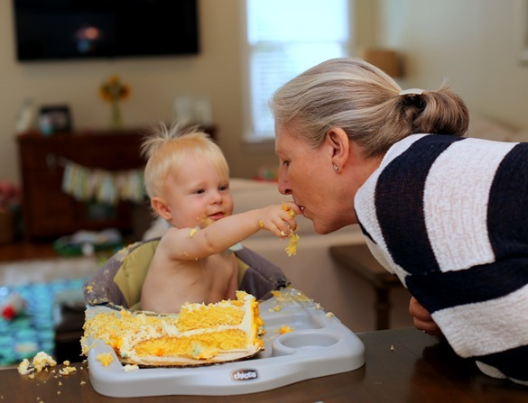 Sharing Smash Cake with Grandma