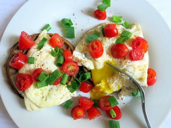 runny eggs on waffles