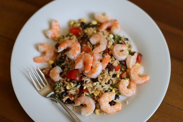 Black Bean Salad and Shrimp